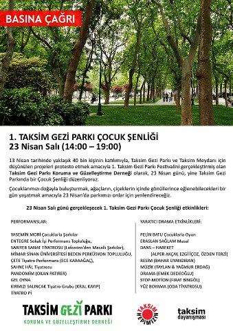 Taksim Gezi Parkı Çocuk Şenliği